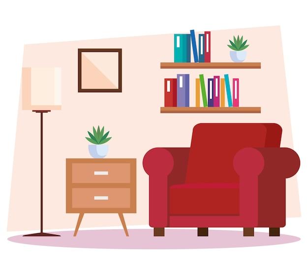 リビングルームの家の場所、ソファ、装飾インテリア家イラストデザイン