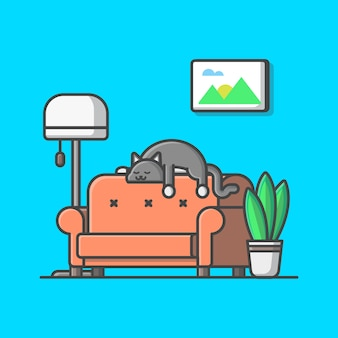 Living room illustration. cat and bench, plant, lamp, living room isolated