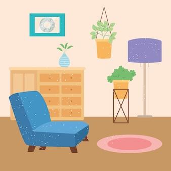 装飾的な植物とリビングルームのイラスト