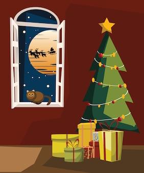 クリスマスの日のリビングルームベクトルイラスト