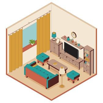 アイソメトリックスタイルのリビングルーム。ソファ、家具、テレビ