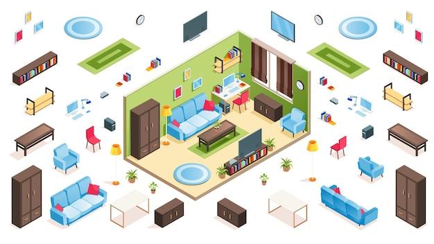 아파트 생성자를위한 거실 인테리어 및 아이소 메트릭 항목. 격리 된 소파 또는 소파, 의자 및 테이블, 안락 의자 및 꽃병, 식물 냄비 및 카펫, 액자, 플라즈마 tv, 시계,. 가구, 실내