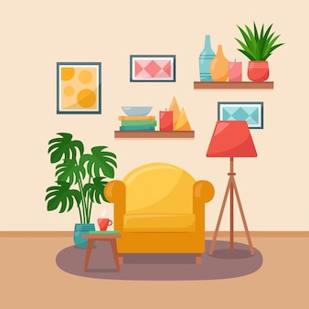 Living room interior. armchair, table, shelves, pictures, floor lamp and houseplants, vector illustration