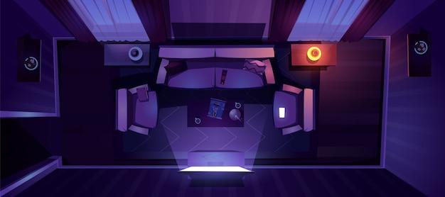 夜の上面図のリビングルームのインテリア