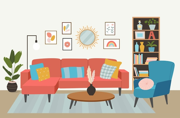 거실 인테리어입니다. 편안한 소파, 책장, 의자 및 집 식물.