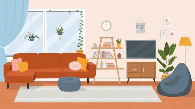 リビングルームのインテリア。快適なソファ、テレビ、窓、椅子、観葉植物。フラット漫画イラスト