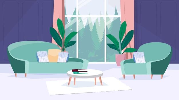 평면 만화 디자인의 거실 인테리어 컨셉입니다. 방석, 커피 테이블, 카펫, 식물이 있는 소파와 의자, 커튼과 숲 전망이 있는 거대한 창문. 벡터 일러스트 레이 션 가로 배경