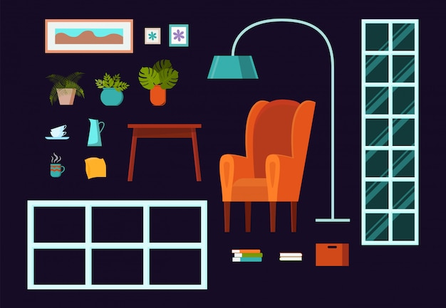 Living room interior constructor clip art set with window, armchair, lamp, shelving, table