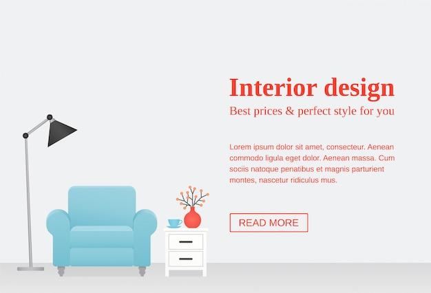 Баннер дизайна интерьера гостиной