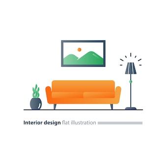 Дизайн интерьера гостиной, диван и торшер, картина и цветочный горшок, стиль минимализм