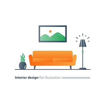 Living room interior design, sofa and floor lamp, picture and plant pot, minimalist style