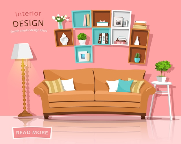 Living room interior design with couch, lamp and shelves. funny style furniture set. illustration.