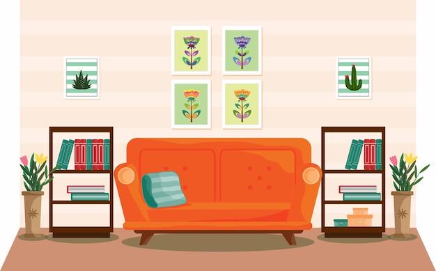 Дизайн интерьера гостиной с мебельным диваном книжным шкафом
