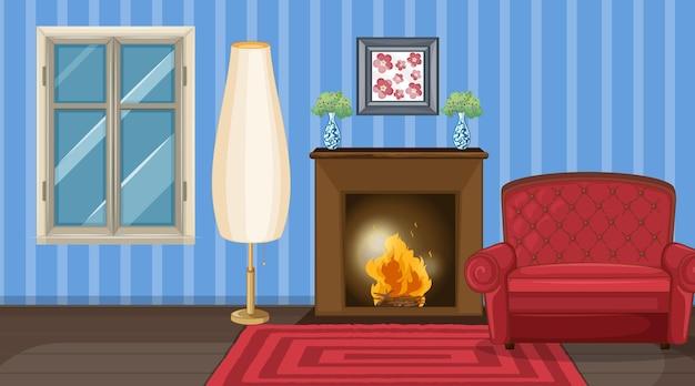 Interior design del soggiorno con mobili