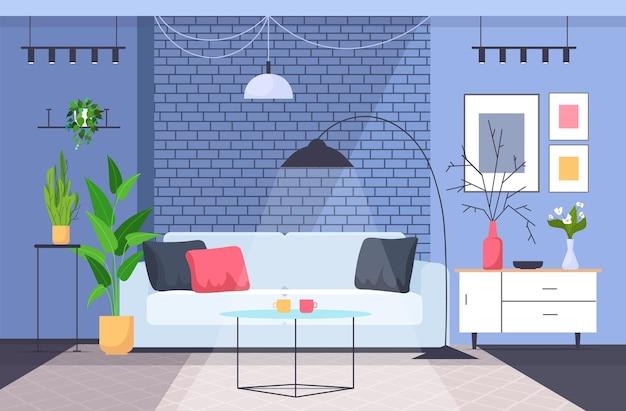 リビングルームのインテリア空の人はいないホームモダンなアパートのデザイン水平ベクトル図