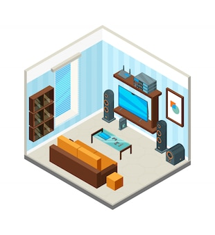 Living room interior. entertainment home theatre table console tv set computer audio system isometric picture