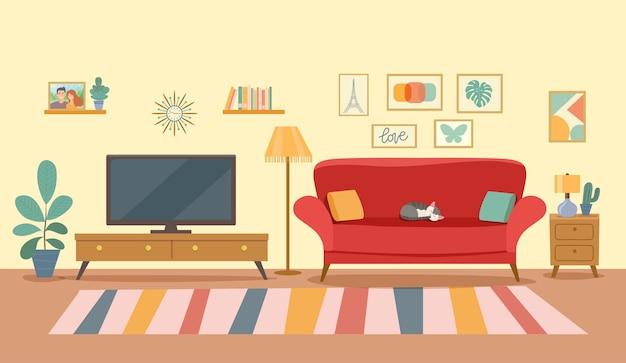 Living room interior. flat style vector illustration Premium Vector