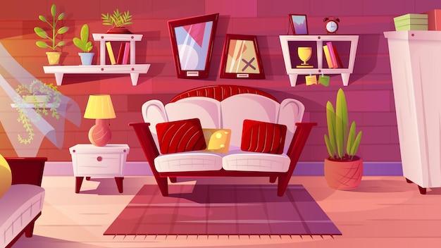 거실 인테리어, 평면 벡터 일러스트 레이 션. 아늑한 소파, 카펫, 벽 선반, 옷장, 가정 장식이 있는 아파트 객실입니다.