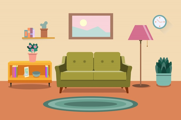 Living room interior. furniture: sofa, bookcase, lamps. flat style illustration