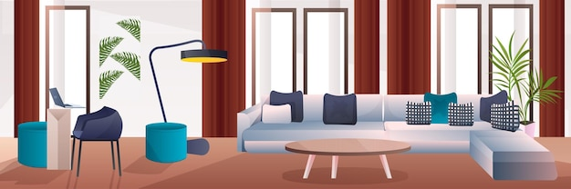 リビングルームインテリアホームモダンなアパートのデザイン水平