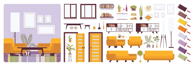Living room interior, home or office creation kit, lounge set
