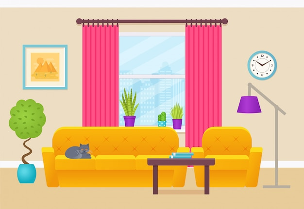 Living room interior, illustration. flat design.