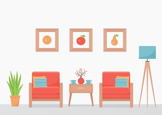 リビングルームのインテリア。図。フラットなデザイン。
