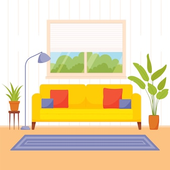 Living room interior.  illustration in a flat style.