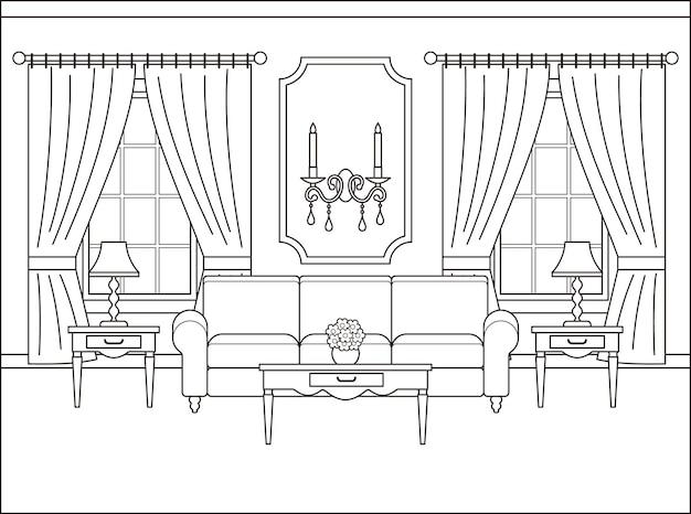 フラットなデザインのリビングルームのインテリア。アウトラインベクトルイラスト。
