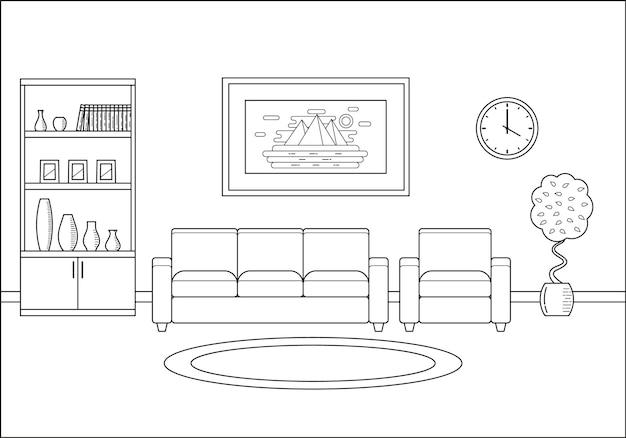 Интерьер гостиной в плоском дизайне линии искусства. векторная иллюстрация.