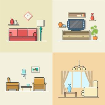 거실 인테리어 실내 세트. 선형 다채로운 스트로크 개요 평면 스타일 아이콘. 색상 아이콘 모음입니다.