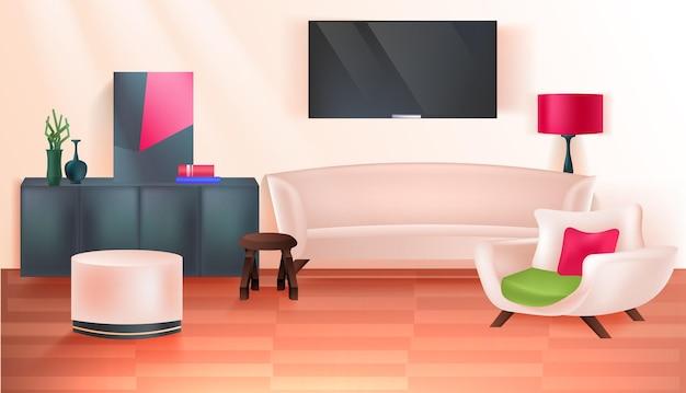 リビングルームインテリアモダンな家のアパート家具水平ベクトルイラスト