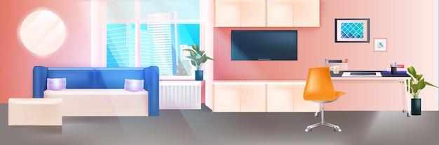 Гостиная интерьер современной домашней квартиры с рабочим местом горизонтальные векторные иллюстрации