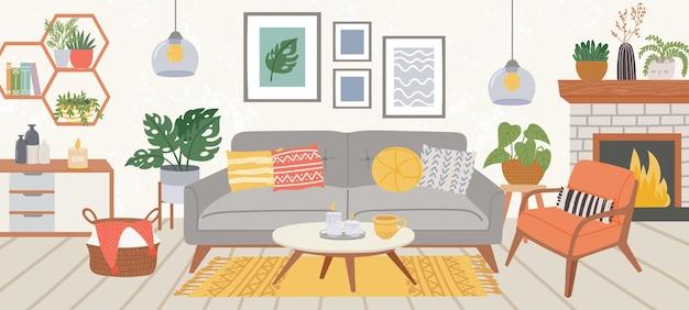 リビングルームのインテリア。スカンディックヒュッゲスタイルのモダンな家庭用屋内家具居心地の良いソファ、カーペット、椅子、テーブル、植物。アパートのベクトルの装飾。スカンジナビアの家具を備えた快適なフラット