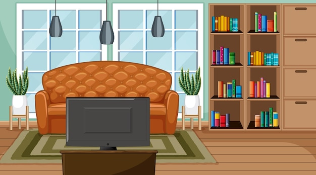 Living room interior scene with furniture and living room decoration