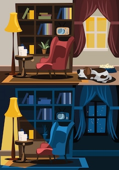Living room interior set vector illustration