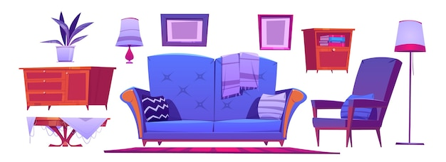 青いソファ、アームチェア、コーヒーテーブル、ランプがセットされたリビングルームのインテリア