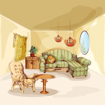 Living room interior sketch