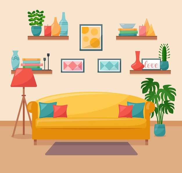 Living room interior. sofa, shelves, pictures, floor lamp and houseplants, vector illustration