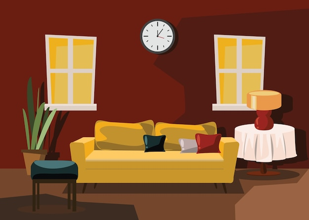 Living room interior vector illustration