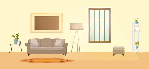 Living room interior vector illustration