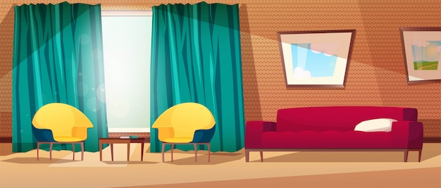 Living room interior with armchairs, sofa, table, picture on the wall, a window and a curtain.wall with shelves.