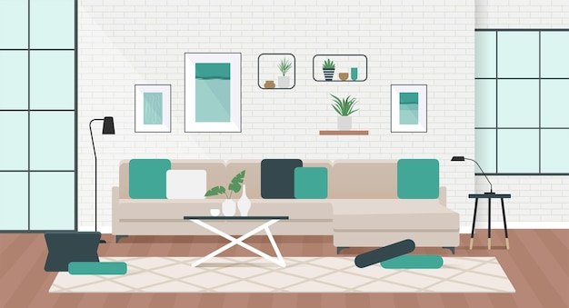 Living room interior with comfortable sofa in flat design