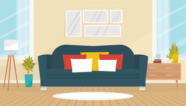 Living room interior with cozy sofa, pictures on the wall, house plants, floor lamp and chest of drawers. home design. modern apartment with big windows. flat illustration.