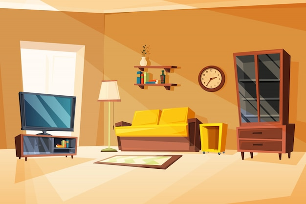 Of living room interior with different furniture items