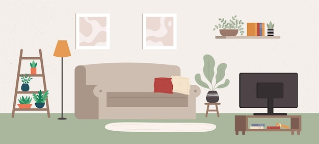 Living room interior with different furniture and tv. indoor items as comfortable sofa with pillows, plants, shelf with books, lamp and pictures in frames on wall vector illustration