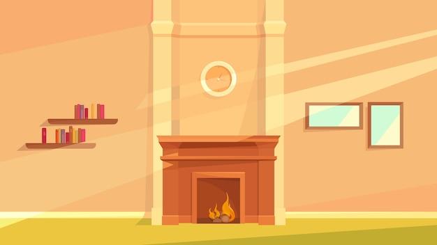 暖炉のあるリビングルームのインテリア。漫画風の居心地の良い場所。