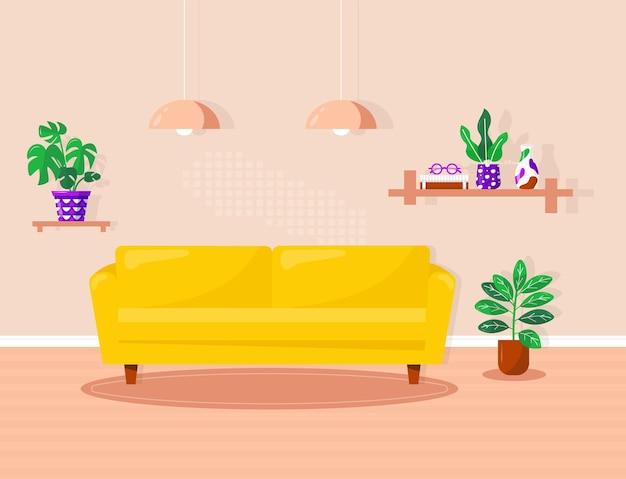현대적인 집 가구가 있는 거실 인테리어:노란색 소파, 책과 꽃병이 있는 책장, 램프, 화분. 편안한 아파트의 아늑한 방의 벡터 평면 그림