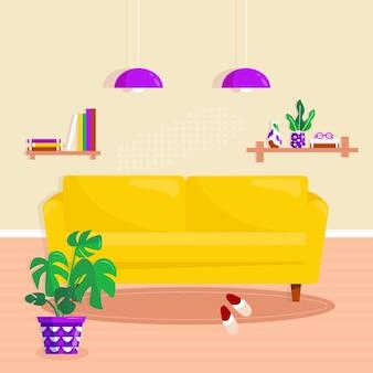 Интерьер гостиной с современной домашней мебелью: желтый диван, книжная полка с книгой и вазой, лампа, тапочки и растение в горшке. векторная иллюстрация квартиры уютной комнаты в комфортабельных квартирах
