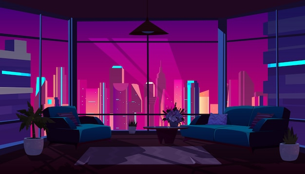 Интерьер гостиной с панорамным окном в ночное время
